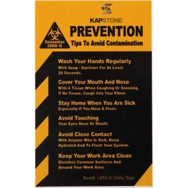 "COVID-19 Coronavirus Prevention Hard Styrene Utility Sign (2.5"" x 4"" x 0.06"")"