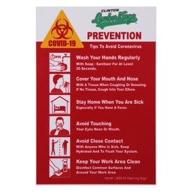 COVID-19 Coronavirus Prevention Hard Styrene Warning Sign
