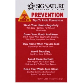 "COVID-19 Coronavirus Prevention Hard Styrene Warning Sign (2.5"" x 4"" x 0.06"")"