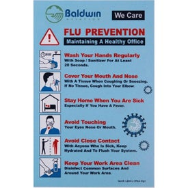 Flu Prevention and We Care Hard Styrene Office Sign