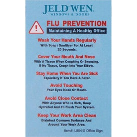 "Flu Prevention and We Care Hard Styrene Office Sign (2.5"" x 4"" x 0.06"")"