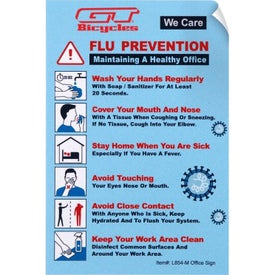 Flu Prevention and We Care Vinyl Sticker Office Sign