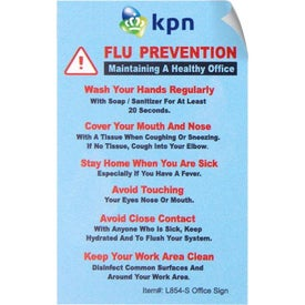 "Flu Prevention and We Care Vinyl Sticker Office Sign (2.5"" x 4"")"