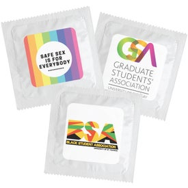Individual Condom with Square 4 Color Decal