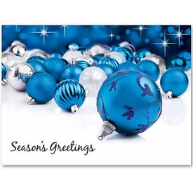 Blue Ornaments Holiday Greeting Card