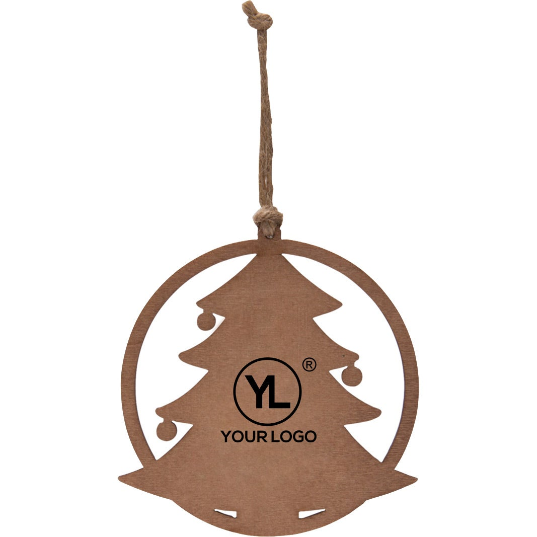 Promotional Holiday Tree Wood Ornaments with Custom Logo for $0.91 Ea.