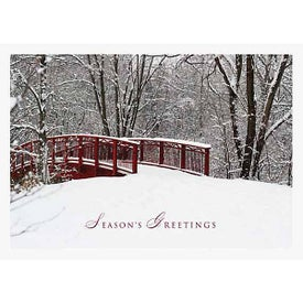 Snowy Bridge Holiday Greeting Card
