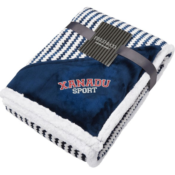 Navy Blue Field and Co. Chevron Striped Sherpa Blanket