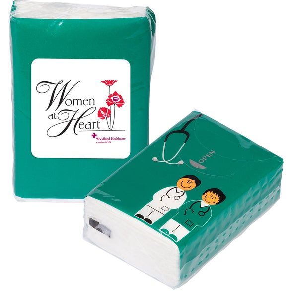 Teal Doctor and Nurse Mini Tissue Packet