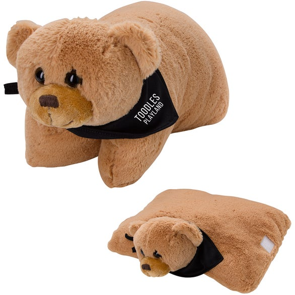 Tan / Black Bernard Bear Plush Pillow
