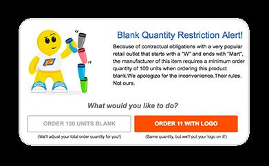 Blank quantity restriction alert