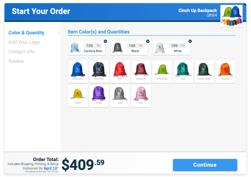 Pick item color cart graphic