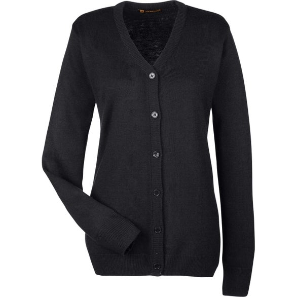 Black Harriton Ladies' Pilbloc V-Neck Button Cardigan Sweater