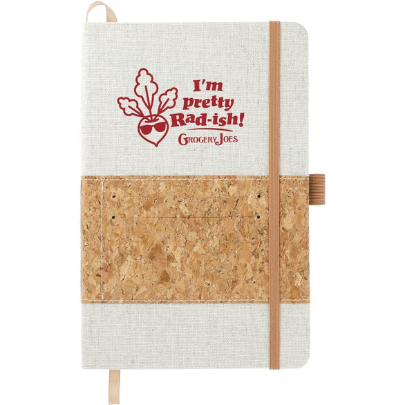 Tan / White Recycled Cotton and Cork Bound Notebook