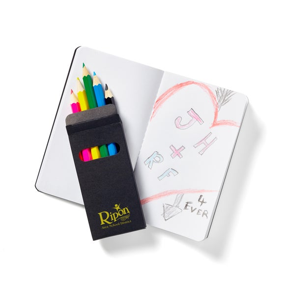 Black Mini Notebook and 6 Color Pencil Set