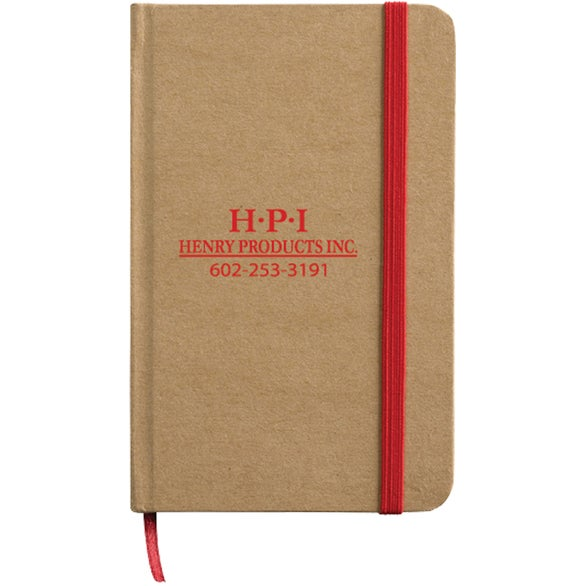Tan / Red Cardboard Executive Cover Journal with Paper Finish