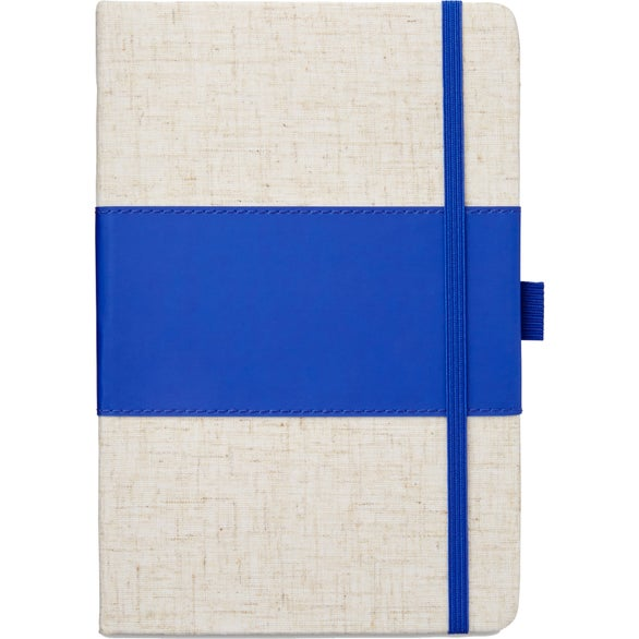 Blue Polyurethane and Heathered Fabric Journal