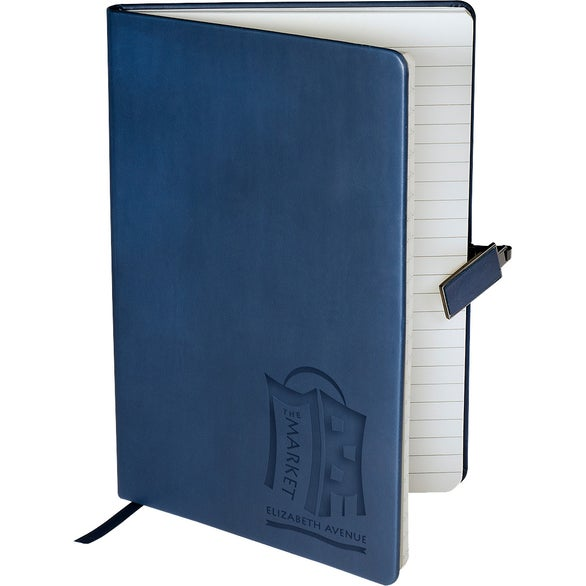 Navy Tuscany Journal with Magnetic Badge Closure