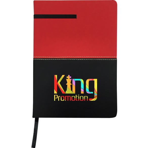 Red / Black Two-Tone Leatherette Journal