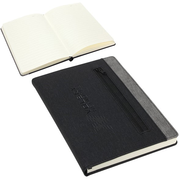 Gray / Black Zip-It Pocketed Journal