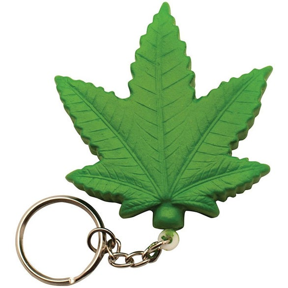 Green Cannabis Leaf Stress Reliever Keyring