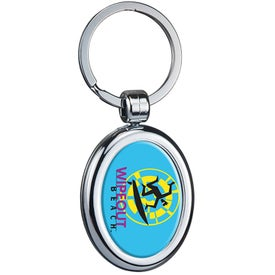 Oval Two Sided Budget Chrome Plated Domed Keytag