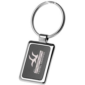 Square Black and Chrome Keychain