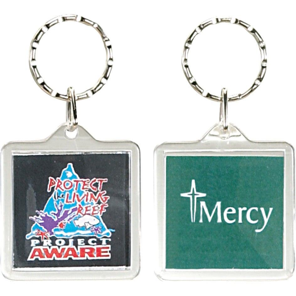 Square Clear Acrylic Keyring
