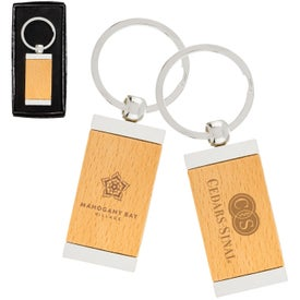 Sterling Silver Plated Bamboo Rectangle Keyrings