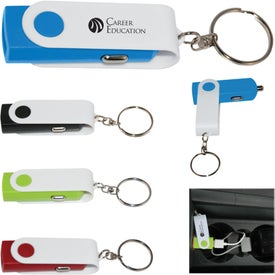 Swivel USB Car Adapter Key Chain
