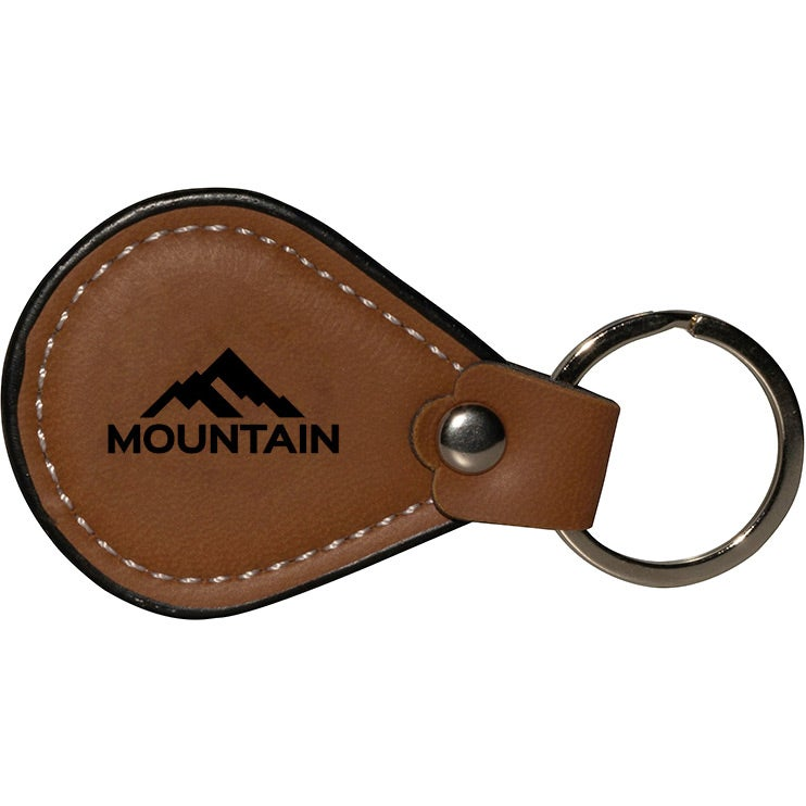 Brown Leather Teardrop Metal Promotional Keychain /& Keyring