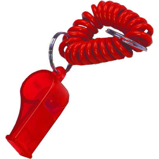 Translucent Red Translucent Wrist Coil with Whistle Keyring