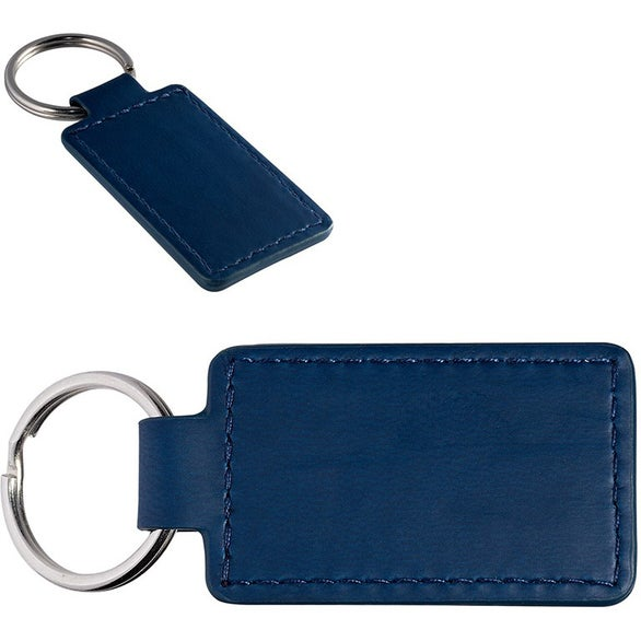 Navy Blue Tuscany Polyurethane Leather Rectangle Key Ring