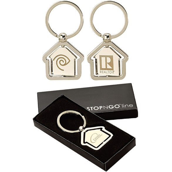 Silver House Shaped Center Spinning Keyring