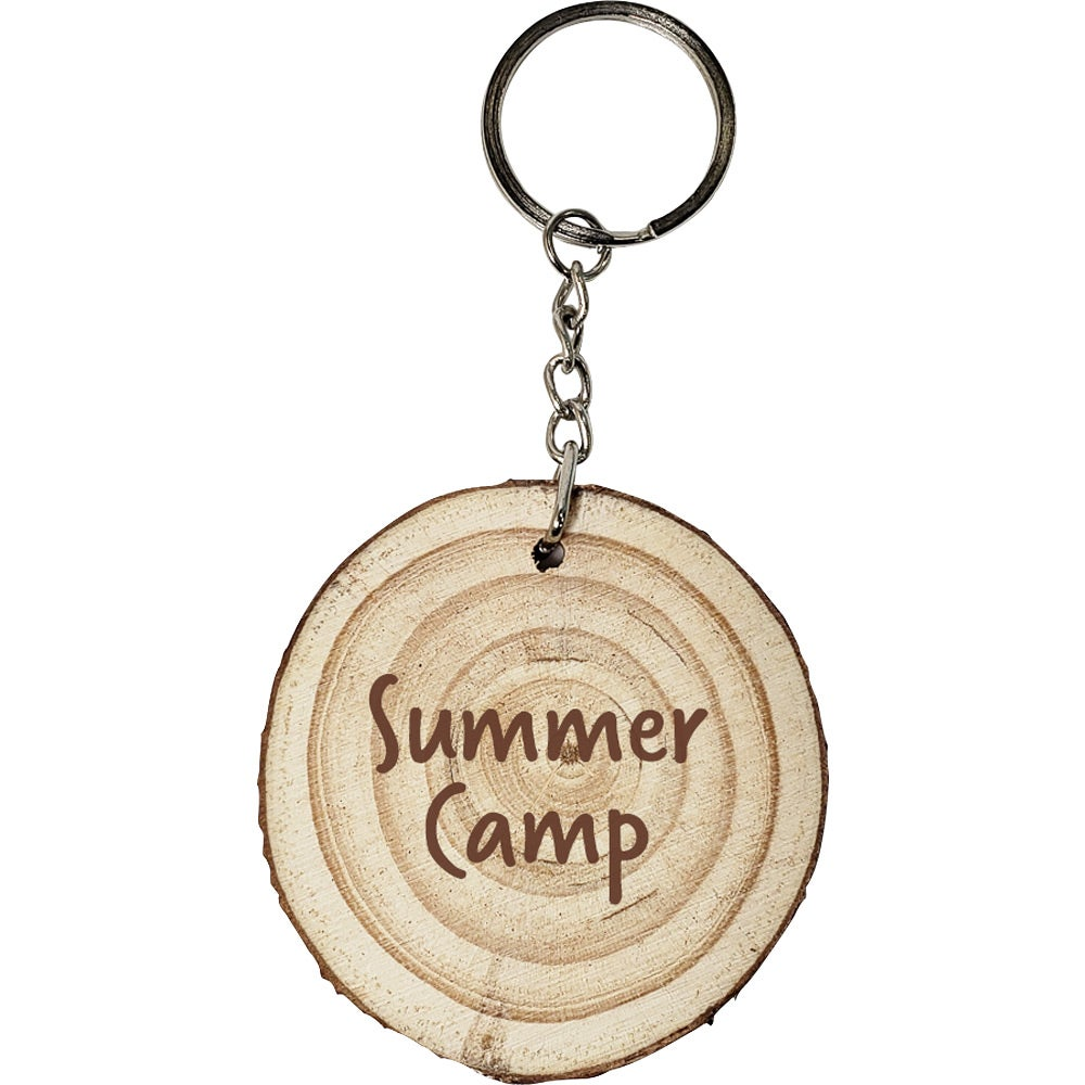promotional natural wood with rings keyrings with custom logo for