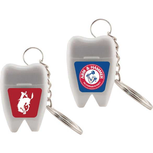 White Tooth Shaped Dental Floss Key Chain