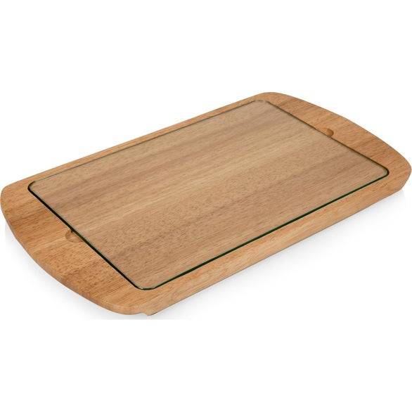 Brown Billboard Glass Top Serving Tray