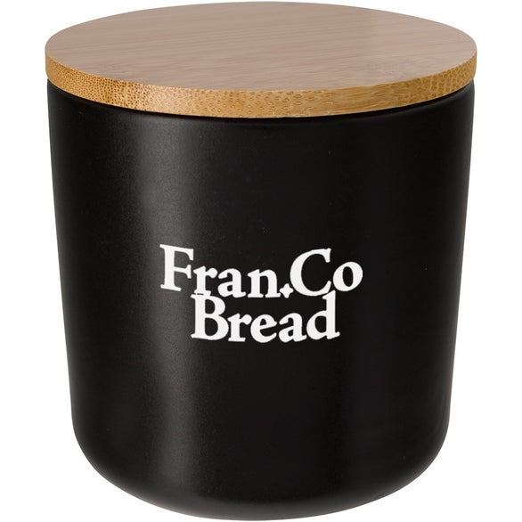 Black / Bamboo Ceramic Container with Bamboo Lid