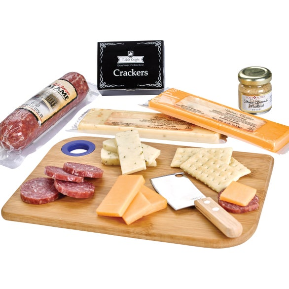 Natural / Blue Charcuterie Favorites Board with Meat and Cheese Set