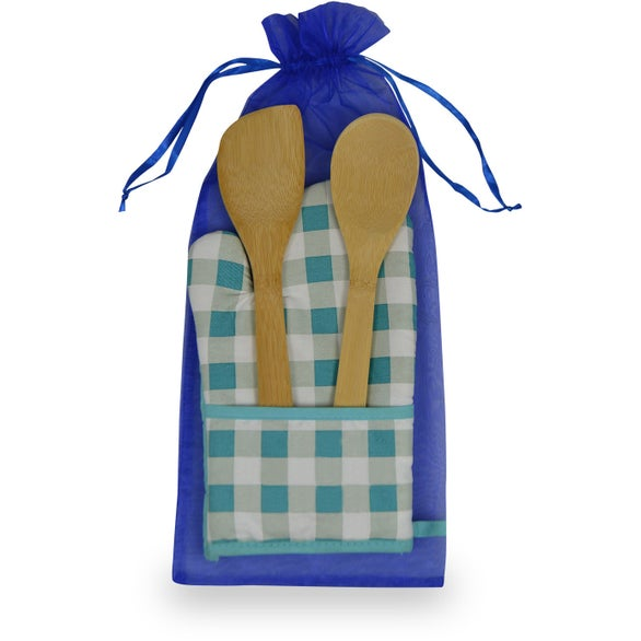 Blue Plaid Chef's Pocket Oven Mitt Bamboo Combo