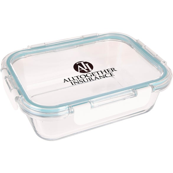 Clear / Blue Fresh Prep Square Glass Food Container