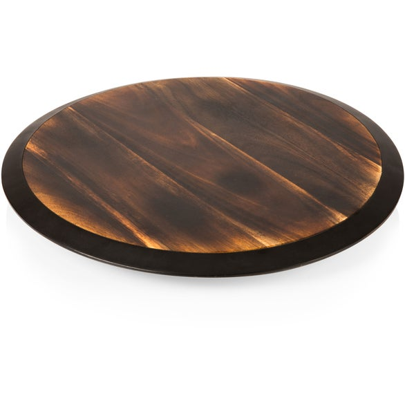 Wood Lazy Susan Fire Acacia Wood Serving Tray