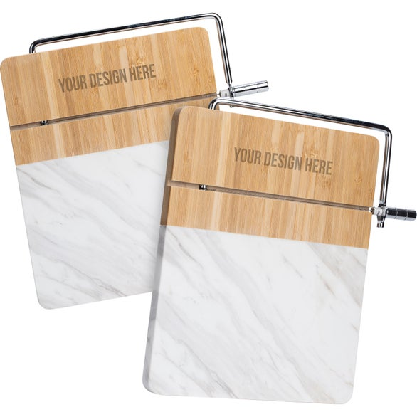 White Marble / Bamboo Marble and Bamboo Cheese Cutting Board with Slicer