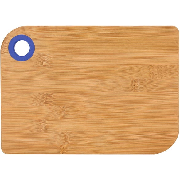 Natural Wood / Blue Silicone Ring Bamboo Cutting Board