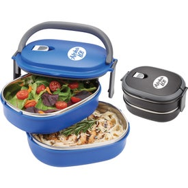 Two Tier Insulated Oval Lunch Box Food Containers