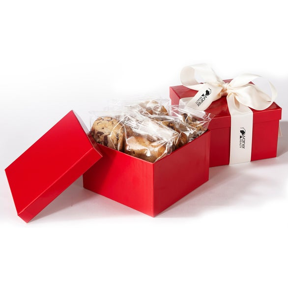 Red / White 1 Dozen Cookies in Box with Wrapping Ribbon