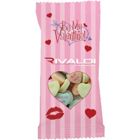 "5"" Clear Plastic Snack Pack with Conversation Hearts"