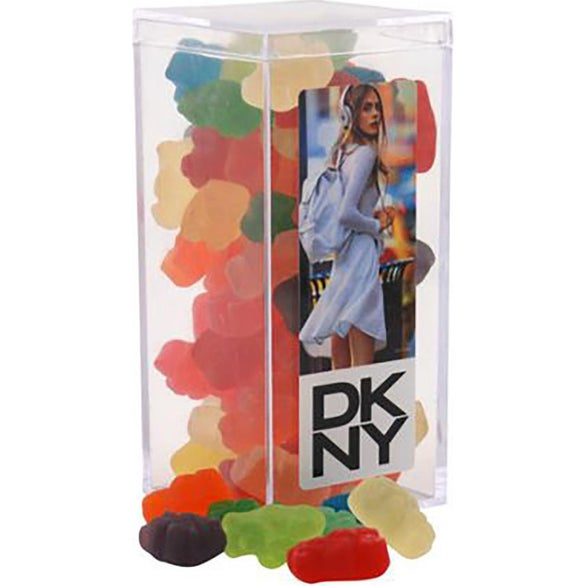 Clear Large Rectangle Acrylic Candy Box with Gummy Bears