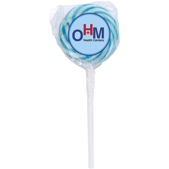 Blue Raspberry Swirl Lollipop with Round Label