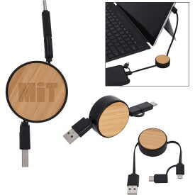 Bamboo Retractable 3-in-1 Charging Cables
